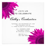 Pink Pop Art Flower Graduation Party Invitation