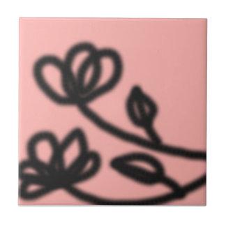 Pink Pop Art Flower Tile