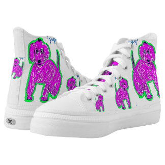Pink Pop Art Pup High Tops Printed Shoes