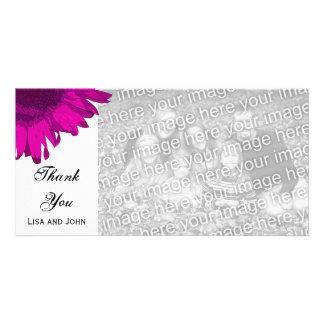 Pink Pop Art Sunflower Thank You Photo Card