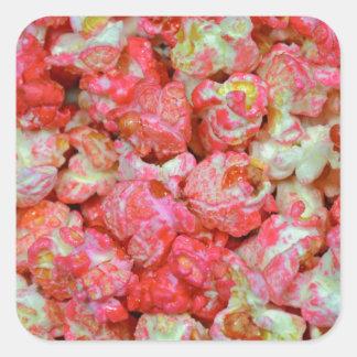 Pink popcorn square sticker