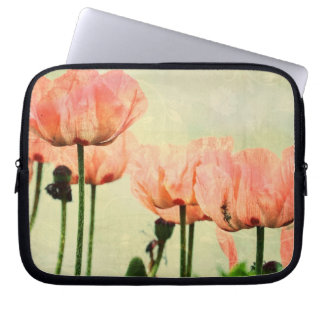 Pink Poppies and Floral Swirls Computer Sleeve