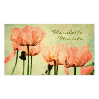 Pink Poppies and Floral Swirls Double-Sided Standard Business Cards (Pack Of 100)