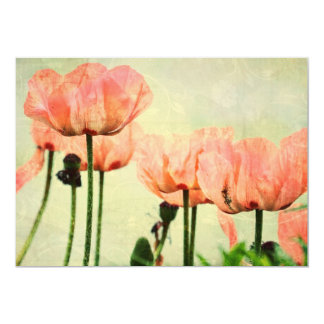 """Pink Poppies and Floral Swirls 5"""" X 7"""" Invitation Card"""