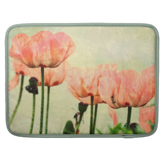 Pink Poppies and Floral Swirls Sleeve For MacBook Pro