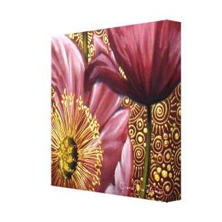 Pink Poppies and Gold Spirals Canvas Print