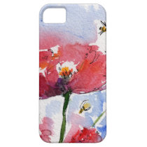 poppies, flowers, pink, bees, art, fine art, summer, feminine, mother's day gifts, iphone covers, ginette, floral, garden, [[missing key: type_casemate_cas]] com design gráfico personalizado