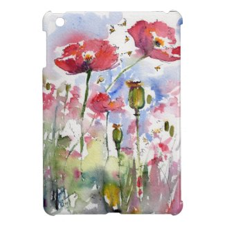 Pink Poppies Botanical Watercolor Mini IPad Design