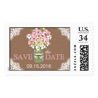 Pink Poppies Lace Rustic Save the Date Postage