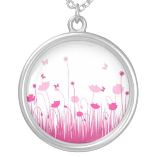 Pink poppies necklace