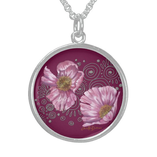Pink Poppies on Silver Spirals Sterling Silver Necklace