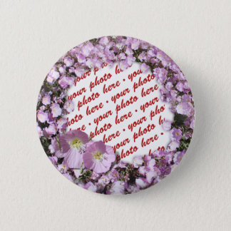 Pink Poppies Photo Frame Button