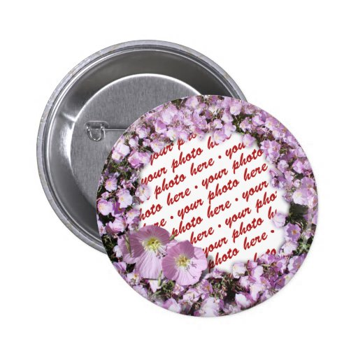 Pink Poppies Photo Frame Buttons