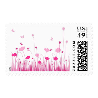 Pink poppies postage