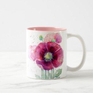 Pink Poppies Two-Tone Coffee Mug