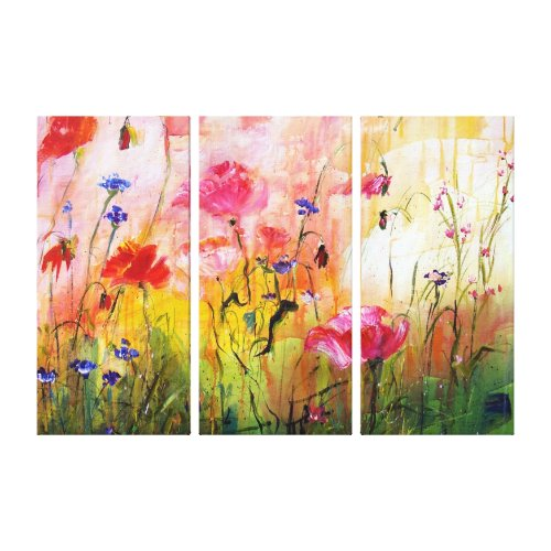 Pink Poppies Wildflower Painting Canvas wrappedcanvas