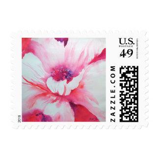 Pink Poppy art postage stamp
