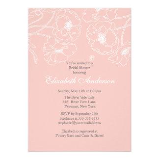 Pink Poppy Floral Bridal Shower Invitation
