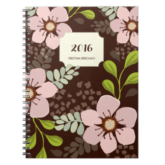 Pink Poppy Floral Garden Personalized Notebook
