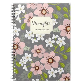 Pink Poppy Floral Personalized Notebook