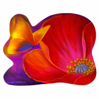 Pink Poppy Flower Butterfly - Multi Cutout