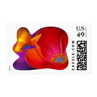 Pink Poppy Flower Butterfly - Multi Stamp