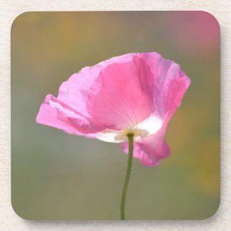Pink Poppy Flower Drink Coaster