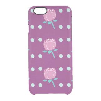 Pink Poppy Flower with Dark Pink Background Clear iPhone 6/6S Case