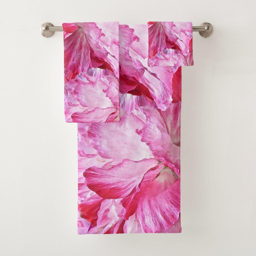Pink Poppy Flowers Floral Bath Towel Set