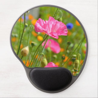 Pink poppy flowers gel mousepad