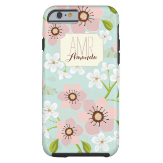 Pink Poppy Garden Floral Personalized Monogram Tough iPhone 6 Case