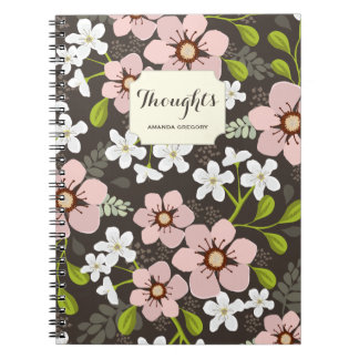 Pink Poppy Garden Floral Personalized Notebook
