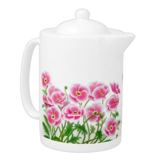 Pink Poppy Garden Teapot