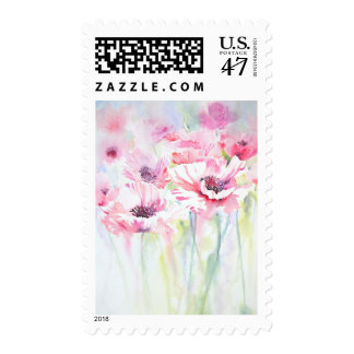 Pink Poppy Meadow art postage stamp
