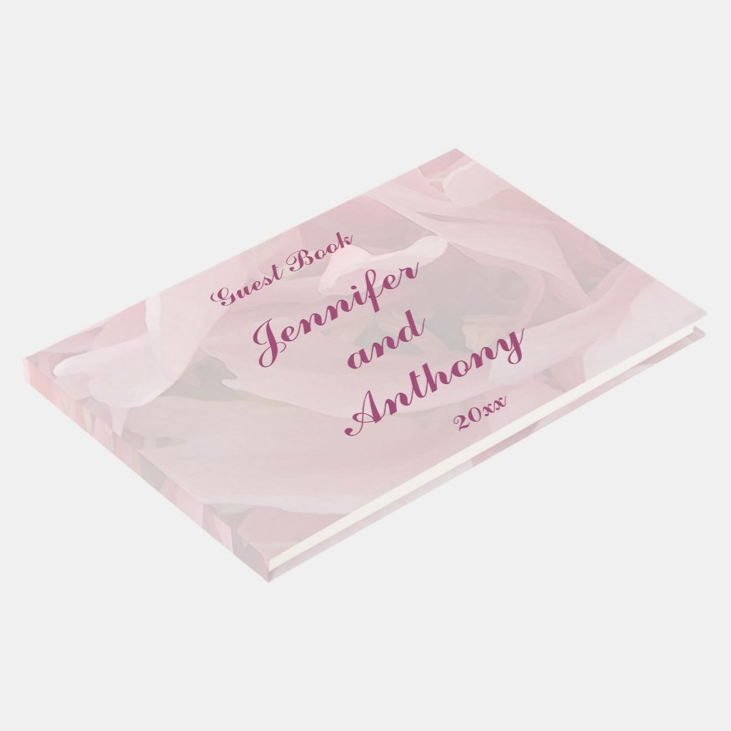 Pink Poppy Petals Floral Wedding Guest Book