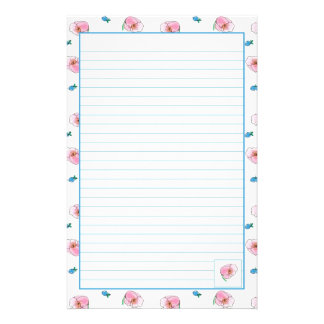 Pink Poppy Watercolor Flowers Lined Stationery