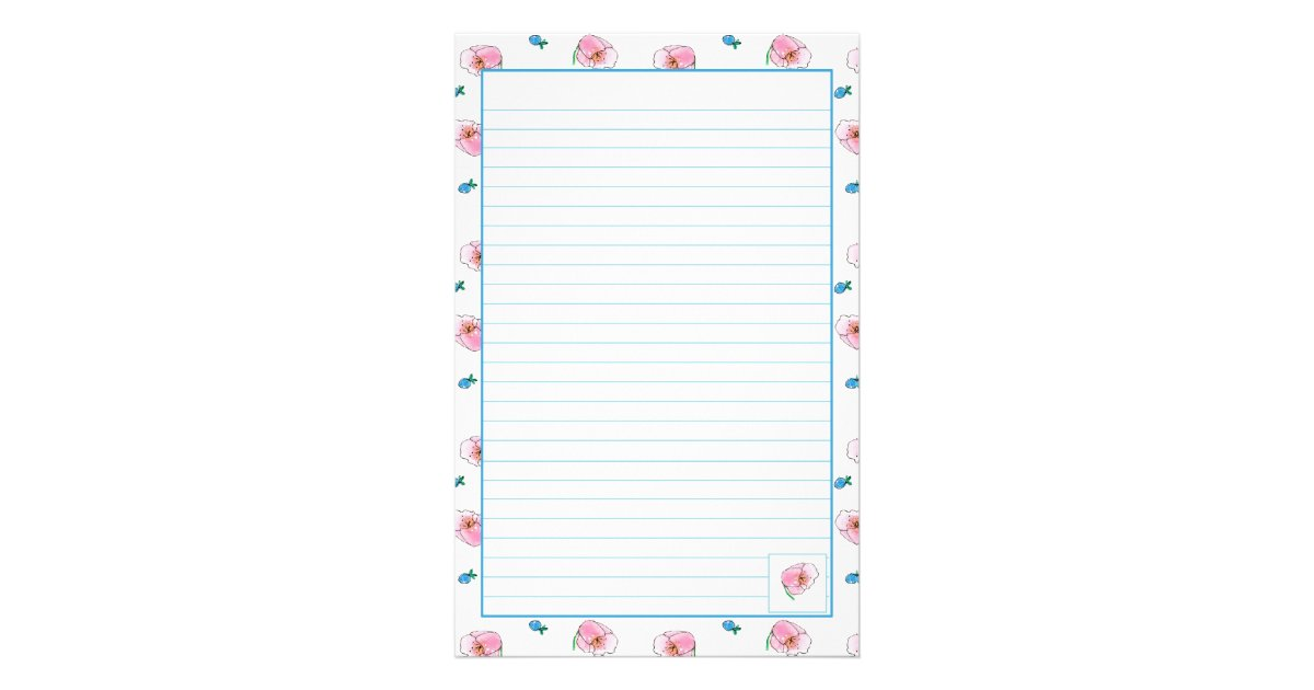 Pink Poppy Watercolor Flowers Lined Stationery – Lined Stationary Paper