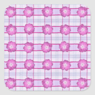 Pink Posies and Plaid Square Sticker