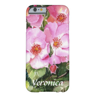 Pink Posies on Green Leaves Watercolor Your Name Barely There iPhone 6 Case