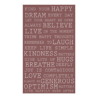 Pink Positive Thoughts Inspirational Words Print
