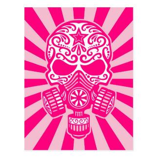 Pink Post Apocalyptic Sugar Skull Postcard