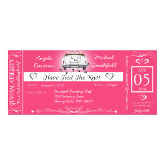 Pink Post Wedding Chalkboard Ticket Invitation