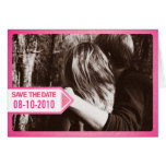 Pink Postal Notice Save the Date Invitation Greeting Cards