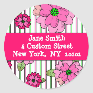Pink Posy Address Labels