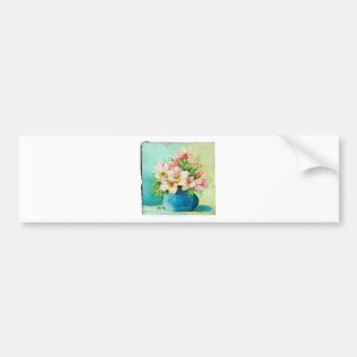 Pink Posy Painting Bumper Sticker