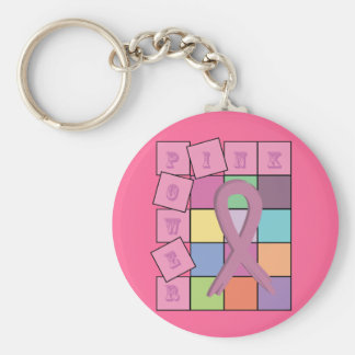 Pink Power Breast Cancer Awareness Ribbon Keychain