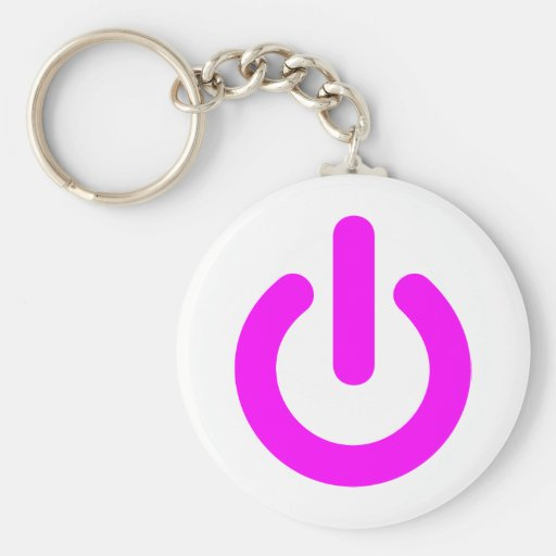 Pink Power On Switch Key Chains