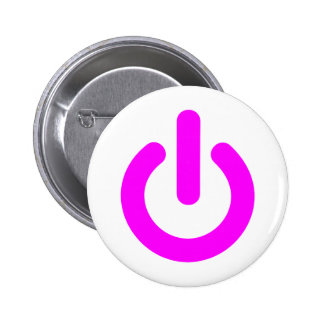 Pink Power On Switch Pinback Button