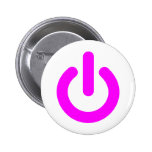 Pink Power On Switch Pinback Buttons
