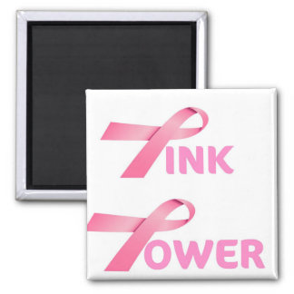 PINK POWER...PINK RIBBON BREAST CANCER AWARENESS MAGNETS